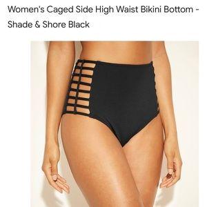 High waisted bikini bottom in black